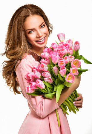 Photo for Woman with spring flowers bouquet, happy surprised model woman smelling flowers, mother's day and springtime concept - Royalty Free Image