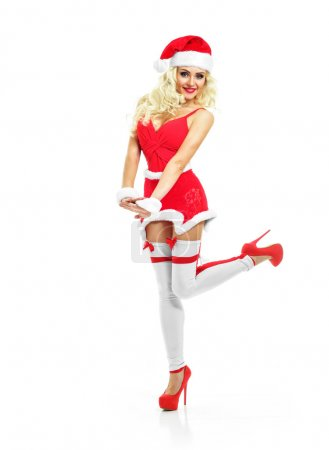 beautiful sexy girl in santa clothes