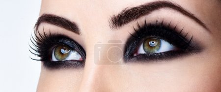 woman eyes with evening makeup