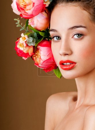 fashion model with flowers in her hair