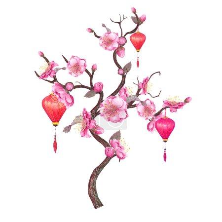 Chinese Red Lantern & Plum blossom.
