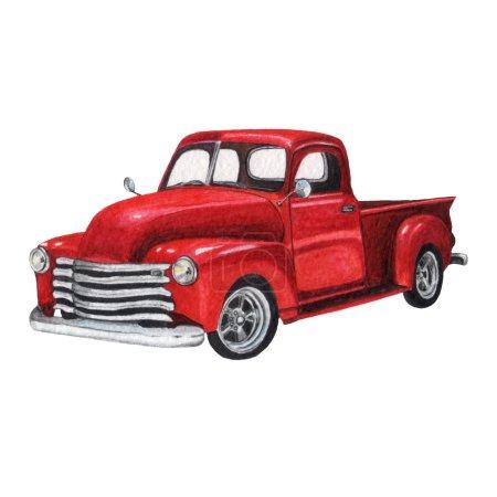 Watercolor Vintage Pickup Truck