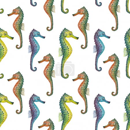 Watercolor seahorse pattern.