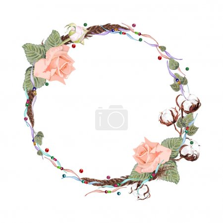 Illustration for Watercolor Roses, Leaves, Feather, Cotton flowers & Beaded Ribbons Wreath isolated on white background. Vector Element for your design. Vintage floral frame for Save the Date Card, Wedding invitation, cover. Boho style. - Royalty Free Image