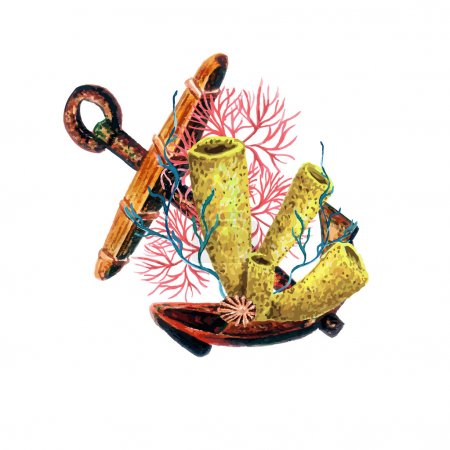 Watercolor Old Anchor