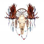 Watercolor Moose Skull