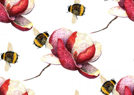 Magnolia and Bumblebees pattern