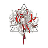 Symbolical Double Triangle & Bloody Chrysanthemum isolated on white background Divine fire &  Grief symbol Vintage Style Vector Element Tattoo T-shirt & textile design Hand drawn illustration Vector line art
