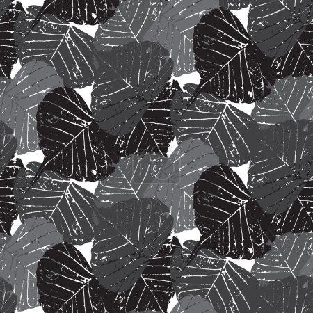 Photo pour Sans couture Grunge Style Laisse modèle sur fond vectoriel blanc. Design à thème gothique. Conception de tissu. Style noir et blanc. Utilisé pour le papier peint, remplissage de motifs, fond de page Web & textures de surface . - image libre de droit