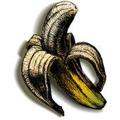 Otevřené banán na prázdné pozadí se stínem