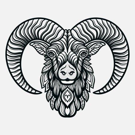Hand drawn line art of zodiac arias. Vector