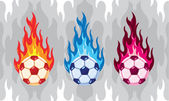 Set of vector colorfull flaming soccer ball