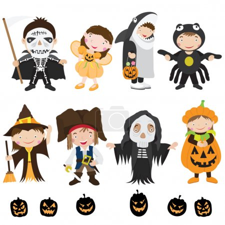 Illustration pour Une illustration vectorielle de personnages et de costumes mignons d'Halloween - image libre de droit