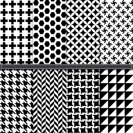Houndstooth and Geometric seamless pattern set