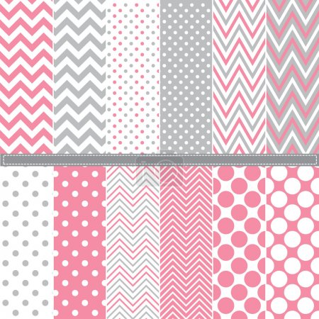 Illustration for A vector illustration of Polka Dot and Chevron seamless pattern set - Royalty Free Image