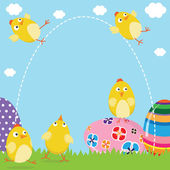 A vector illustration of Happy Easter Chicks