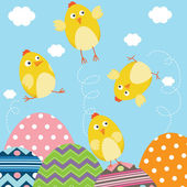 A vector illustration of Happy Easter Newborn Baby Chicks