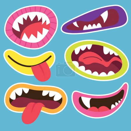 Illustration for A vector illustration of Cute Monsters Mouths. - Royalty Free Image