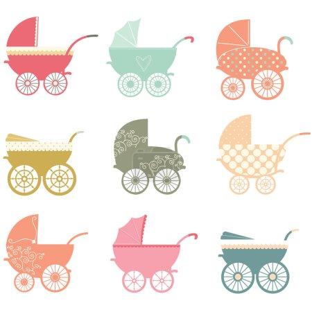 Photo pour Illustration vectorielle de Baby Stroller Elements . - image libre de droit