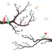 A vector illustration of Retro Love Bird Wedding Invitation