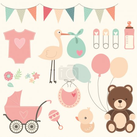 A vector illustration of Baby Shower Set....