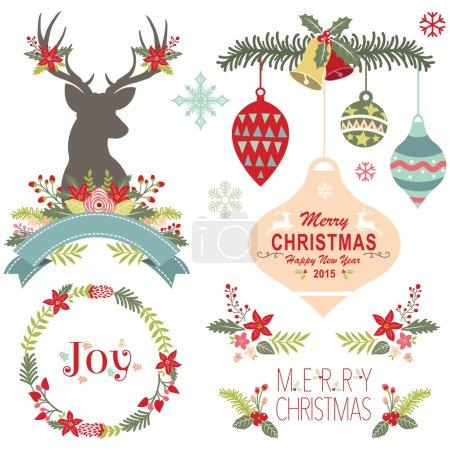 Illustration pour Une illustration vectorielle de joyeux Noël éléments. - image libre de droit