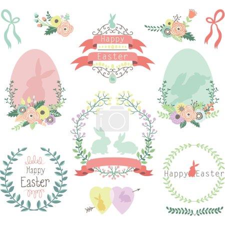 Illustration pour Une illustration vectorielle des éléments de conception de Pâques . - image libre de droit