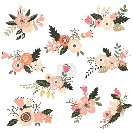 Illustration for A vector illustration of Vintage Floral Bouquet Set. - Royalty Free Image