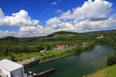 Landscape of the River San in front of the dam in Solina (Bieszczady, Poland)