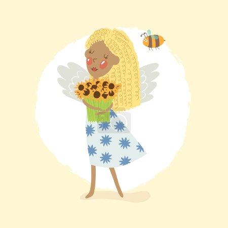 Cute  girl  in a summer dress