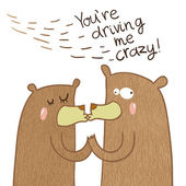 crazy bears in love are kissing