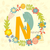Cute Zoo alphabet, Narwhal