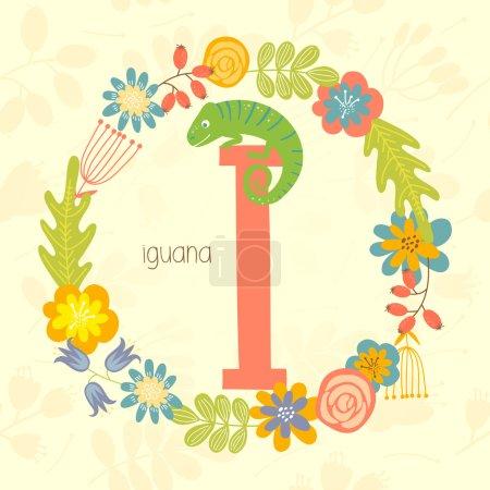 Cute Zoo alphabet, Iguana