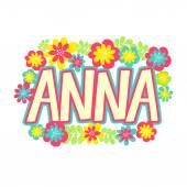 beautiful name Anna in flowers