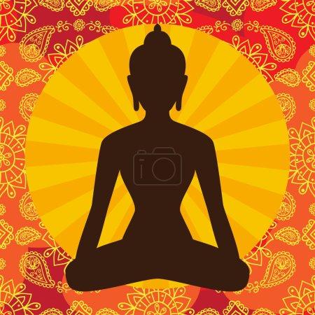 Indian background with Buddha symbol.