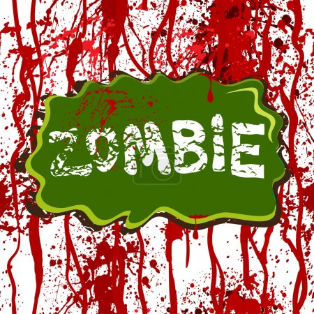 Illustration for Horror background with dripping blood and zombie. Seamless pattern. - Royalty Free Image