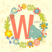 Cute Zoo alphabet walrus with letter W and floral wreath in vector
