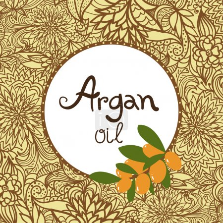 Illustration for Argan oil label and element. Oriental ornament. - Royalty Free Image