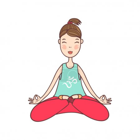 Illustration for Vector illustration of a beautiful woman sitting in yoga lotus position. - Royalty Free Image