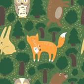 Cute animals pattern Wild animals: bear fox rabbit and the owl Forest elements: bushes mushrooms stumps It can be used for printing on textiles children's accessories