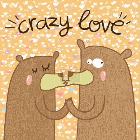 Illustration for Cute crazy bears in love are kissing. Crazy love. Valentine's day card - Royalty Free Image