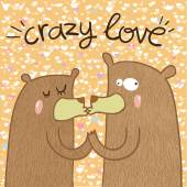 Cute crazy bears in love