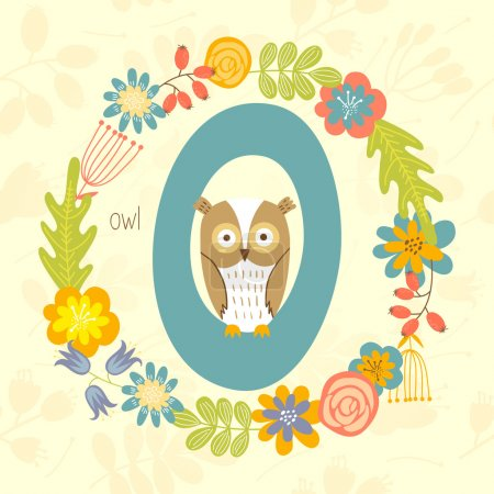 Zoo alphabet, Owl with letter O