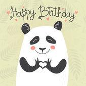 cute panda showing heart