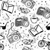 hipster photo cameras pattern