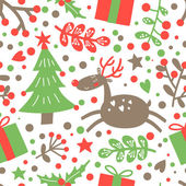 Merry Christmas and a happy New Year seamless pattern with holiday symbols Vector background