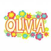 beautiful name Olivia in flowers