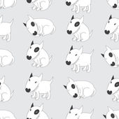 Seamless pattern with cute Bull Terriers