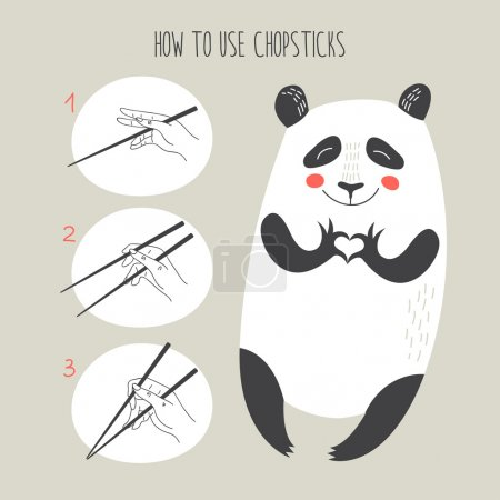 Illustration for Instruction how to use chopsticks with cute cartoon panda showing heart. vector illustration. - Royalty Free Image