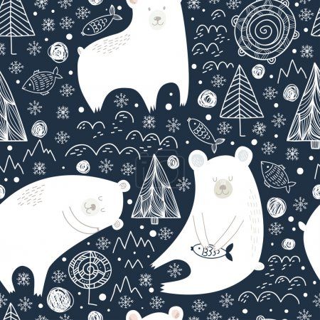 Great seamless pattern with cute polar bears, fish...
